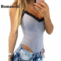 Romanstii Bodysuit Summer Sexy Sleeveless Spaghetti Strap Lace Patchwork Deep V-Neck Women Body Femme Suit Slim Stretch Vest Top