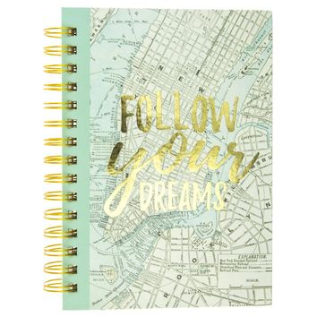 Follow Your Dreams Map Hard Cover Journal in Gold and Green