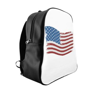 American Flag School Backpack 100% PU Leather Small Medium Large
