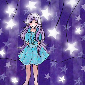Children's Art Print Wish Upon A Star Purple by wonderlaneart