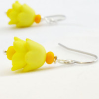 Yellow Czech Tulip Earrings- harmonydesigns