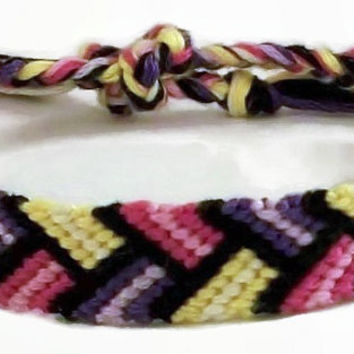 Pink, Purple & Yellow Bordered Braid Pattern Embroidery Macrame Friendship Bracelet, Spring Friendship Bracelet