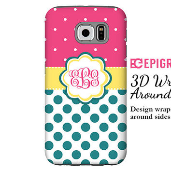 Monogram Samsung Galaxy S6 Edge case, teal and hot pink polka dots Galaxy S6 case, Galaxy S5 case, Galaxy S4 case, custom Galaxy S6 case
