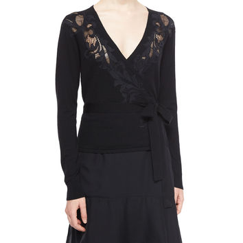 Floral-Embroidered Ballerina Wrap Sweater, Black, Size: