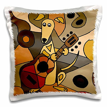 """3dRose Funny Greyhound Dog Playing Guitar Abstract Art-Pillow Case, 16 by 16"""" (pc_224775_1)"""