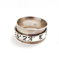 Spinner Ring Latitude Longitude, Sterling Silver Custom Personalized Coordinate Ring, Personalized Jewelry, Hand Stamped, Personalized Gift