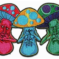 Mushroom No Evil See Hear Speak Iron On Hippie Patch