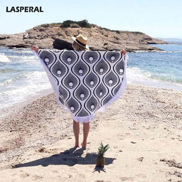 LASPERAL Round Sarong Cloak Cover Ups Women Tree Leaf Multi Color Printed Pattern Loose Swim Bath Suit Women Summer Beach Party