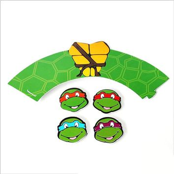 Boys Kids Favors Ninja Turtles Theme Decoration Bake Wrappers Birthday Party Cake Cupcake Toppers Baby Shower Supplies 24pcs/lot