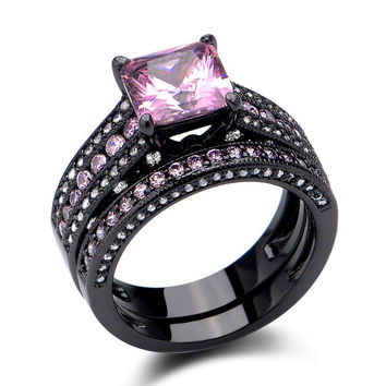 925 Sterling Silver Princess Cut Created Pink Sapphire Classic Wedding Ring