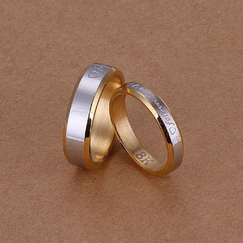 Korean Style Elegant Love Couple Rings 925 Silver Plated Jewelry Set Perfect Gift for Girls = 1930045252