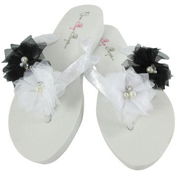 Black Flower Flip Flops on White Wedge Platform Heels- Bride or Bridesmaid Gifts/ Shoes