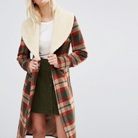 Cooper & Stollbrand Faux Shearling Collar Check Coat at asos.com