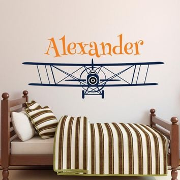 Large  Size Personalized Airplane Name Wall Decal
