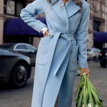 New Light Blue Pockets Belt No Buttons Turndown Collar Formal Elegant Casual Long Wool Coat
