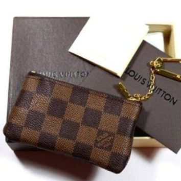 LV Louis Vuitton Street Fashion Women High Quality Leather Zippered Leather Canvas Key Bag F