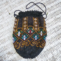 Beaded Flapper Purse Beaded Pouch Antique Beaded Purse Antique Beaded Bag Antique Beaded Handbags Seed Bead Purse Evening Bag Black and Gold