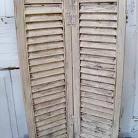 Off white distressed wooden shutter shabby chic home decor  Anita Spero