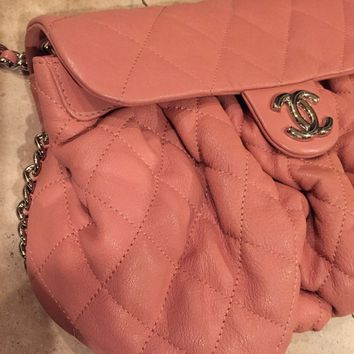CHANEL QUILTED CHAIN AROUND MED. SHOULDER BAG CORAL/PEACH color 100%AUTHENTIC