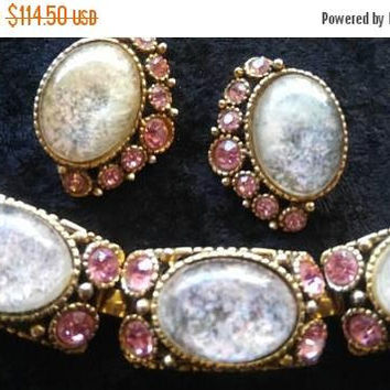 On Sale Vintage Pink Rhinestone Demi Parure, Selro Style Bracelet Earring High End Jewelry Set, 1950's 1960's Collectible Accessories