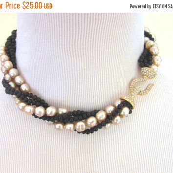 "SALE Cream faux baroque pearl & black beaded 16"" twisted choker necklace with pave rhinestone goldtone hook and eye closure  - Free U.S. Shi"