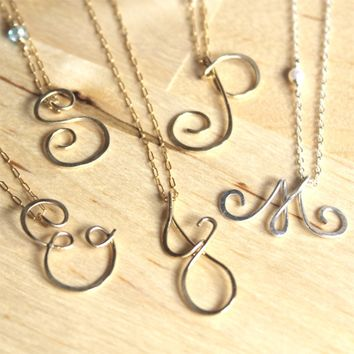 Supermarket: Letter Initial Alphabet Script Monogram Gold Silver Pendant Necklace - Delicate Simple Modern Minimalist Jewelry - DELIGHT by 5050 Studio from 5050 Studio