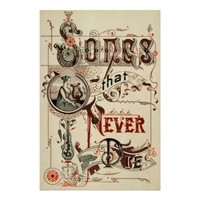 Vintage Antique Typography Music Songs Harp Print