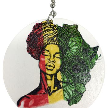 African Hair Wooden Earrings | Afrocentric Earrings | Natural Hair Earrings | Jewelry | Accessories