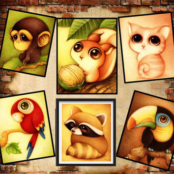 Mosaic needlework 5D diy diamond painting cartoon animal picture for child cross stitch round rhinestone drill embroidery patch