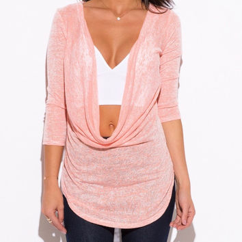 Cowl Neck Knit Tunic Top in Salmon