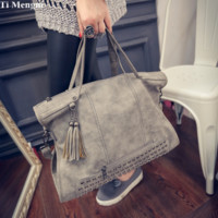 Gray Studded Leather Crossbody Shoulder Handbag
