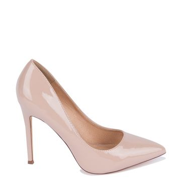 High Stiletto Heel Pointed Toe Patent Faux Leather Lined Cushioned Pumps in Nude