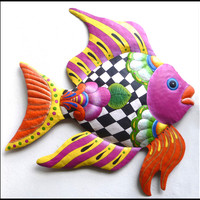"NEW - Colorful Funky Tropical Fish Design - Painted Metal Garden Wall Hanging - Haitian Steel Drum Metal Art - 34"" x 35"""