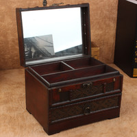 High Quality Retro Antique Wooden Vanity Box Retro With Mirror Jewelry Box Pouch Props Wooden Boxes Dressers Desktop Storage