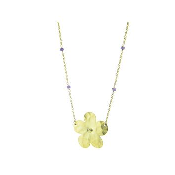 Hammered Gold Plated Sterling Silver Flower of Life & Amethyst Stone Chain Necklace, 16‰۝