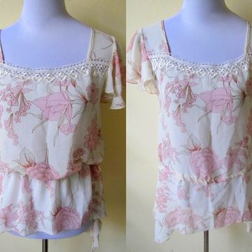 Spring Sale: sheer ivory white with pastel pink floral blouson top (small)