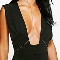 Gracie Diamante Detail Body Chain | Boohoo