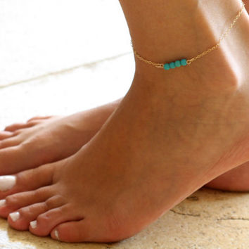 Gold Anklet - Gold Ankle Bracelet - Turquoise Anklet - Foot Jewelry - Foot Bracelet - Chain Anklet - Summer Jewelry - Beach Jewelry