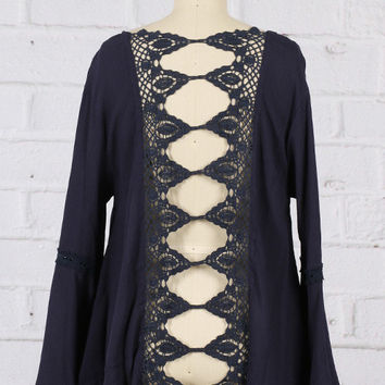 It's All In The Details Top with a Bell Sleeve and Crochet Detailed back in Navy