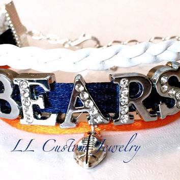3 strand - Chicago BEARS Rhinestone letters & Football Charm - Customize Name, color and charm