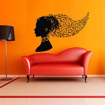 Wall decal decor decals sticker art vnyl design note girl sound music club bedroom Play Electro house Office Lounge head room dorm (m1216)