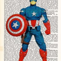 Captain America- Superhero Art Poster- Dictionary Print- Avengers - Gift For Boyfriend- Home Dorm Wall Decor