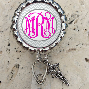 Monogram Retractable ID Badge Reel with Charm, Badge ID Reel, Nurse Badge Reel Office Badge Reel Bottlecap Badge Reel Chevron Gifts under 10