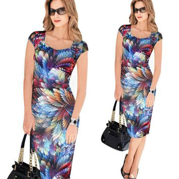 Dress Vestidos Summer Womens Elegant Floral Print Vintage Fitted Casual Stretch Formal Party Sheath Bodycon Pencil 042