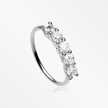 Multi-Gem Princess Prong Sparkles Bendable Hoop Ring