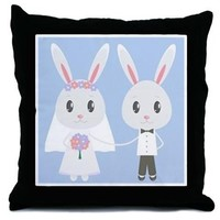 bunny wedding Throw Pillow