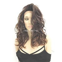 Ash Brown Ombre' Human Hair Blend 4x4 Deep Multi Parting Lace Front Wig -  Robin