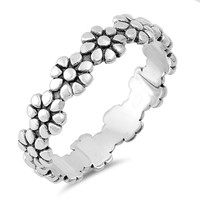 Sterling Silver Women's Ring Eternity Daisy Flower 5MM