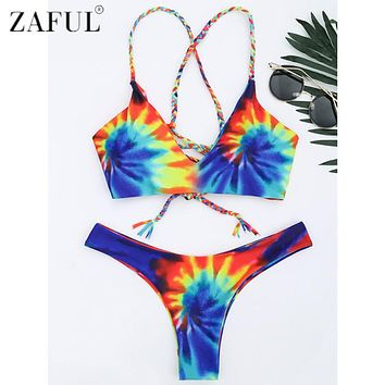 Zaful 2017 New Women Tie Dye Braided Criss Cross Bikini Set Sexy Spaghetti Straps Beach Swimwear Women Swimsuit Bathing Suit
