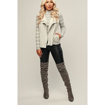 In The Now Faux Fur Vest (Light Grey)